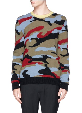 Main View - Click To Enlarge - Valentino - Camouflage cashmere sweater