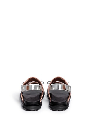 Back View - Click To Enlarge - Marni - Contrast trim metallic leather bow sandals