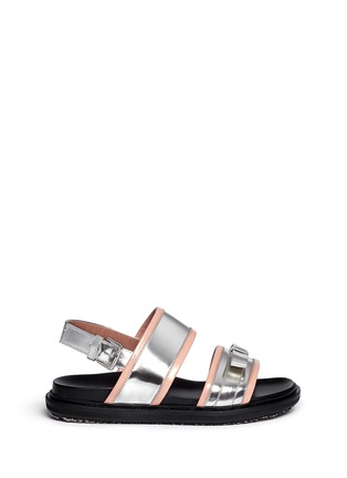 Main View - Click To Enlarge - Marni - Contrast trim metallic leather bow sandals