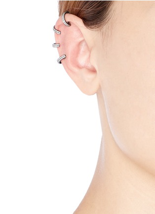 Figure View - Click To Enlarge - REPOSSI - 'Berbère' diamond black gold 4-hoop ear cuff