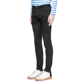 JOHNUNDERCOVER RAW EDGE PATCH SKINNY JEANS