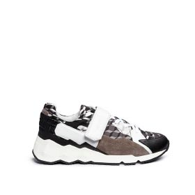 PIERRE HARDY 'COMET' CAMOUFLAGE CUBE PRINT LEATHER SNEAKERS